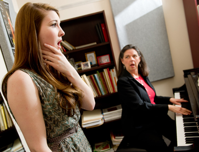 Margaret Carpenter rehearses with music professor Dr. Nancy Walker