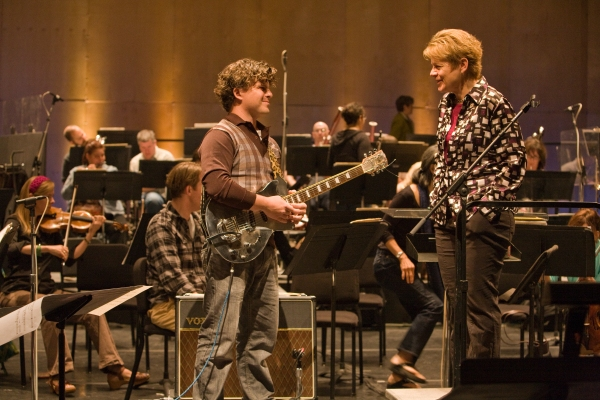 D. J. Sparr with Conductor Marin Alsop at the Cabrillo Festival | Photo Credit: RR Jones