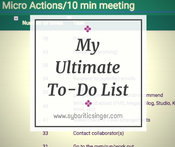 Sybaritic Singer | My Ultimate To-Do List